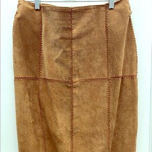 Vintage suede patch quilt maxi skirt